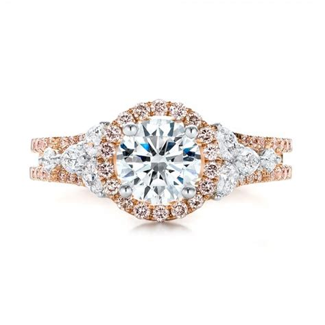 pink and white halo engagement ring 101953