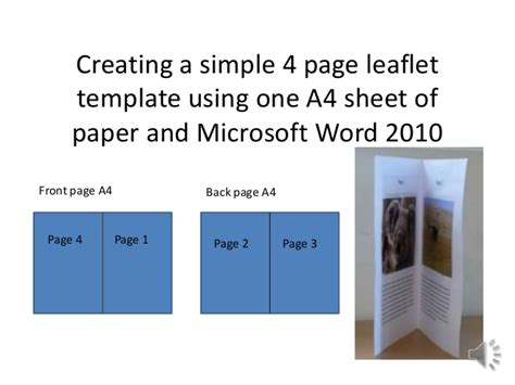 How To Make Simple 4 Page Leaflet In Word 2010 Create A Page Template