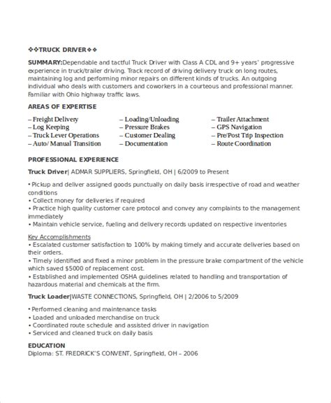 driver resume sle word format driver resume template 8 free word pdf document