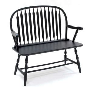 black windsor bench carolina cottage antique black windsor bench 42 36 the home depot