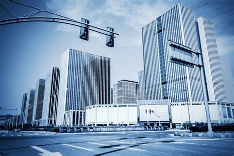 modern city view of modern city in blue tones photo free download