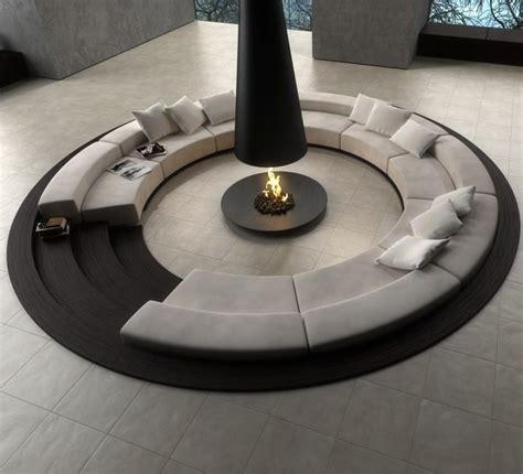 Circular Conversation Pit Central Fireplace Sofas Cushion