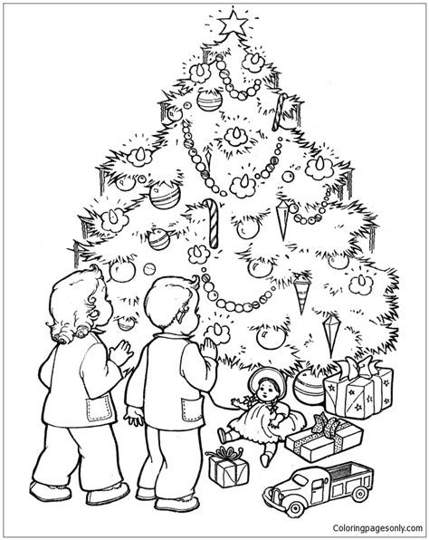 christmas tree with gifts coloring page children christmas gifts and christmas tree christmas