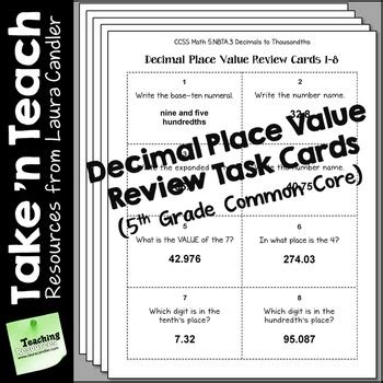 decimal place  task cards  grade common core  laura candler