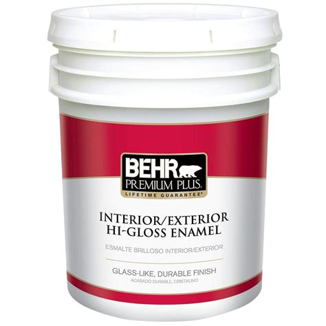 high gloss paint behr premium plus 5 gal ultra pure white hi gloss low voc