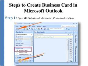 how to create a business card in outlook create business card in microsoft outlook