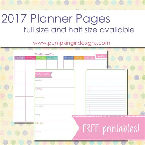 printable half sheet planner pages 2017 blank planner pages pumpkingirl designs
