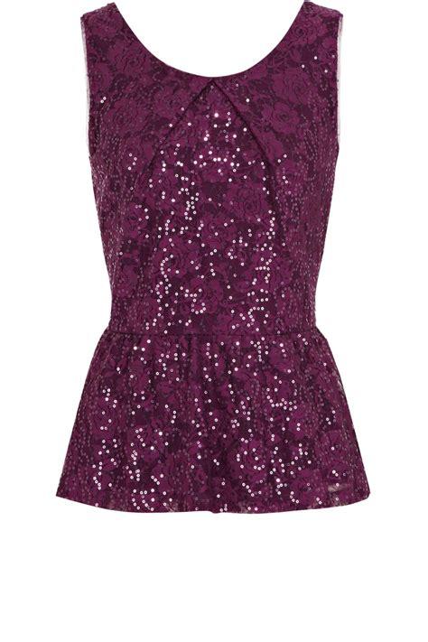 Purple Top 1 lyst oasis sequin lace peplum top in purple