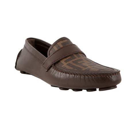 fendi loafers mens fendi brown zucca canvas and leather driving loafers