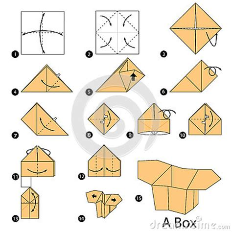 How To Make Paper Box Step By Step - step by step how to make origami a box stock