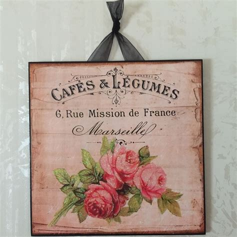 vintage paris shabby rose wall decor sign plaque french country chic ebay