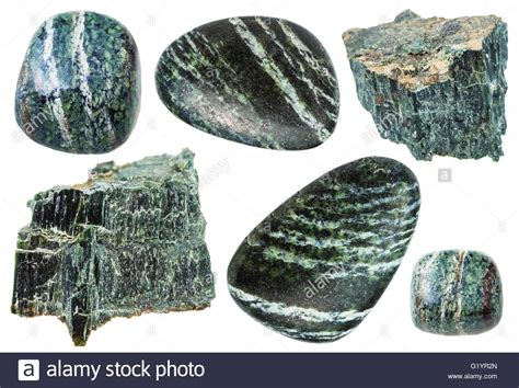 set of various mineral stones chrysotile green