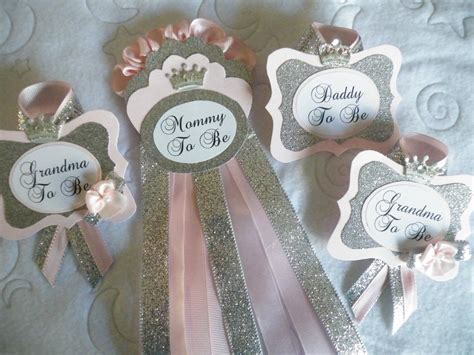 Sash For Baby Shower by To Be Set Pink And Silver Princess Corsage Pin