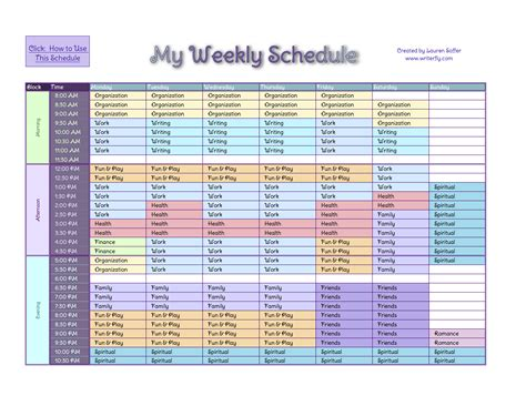 time management schedule template template design