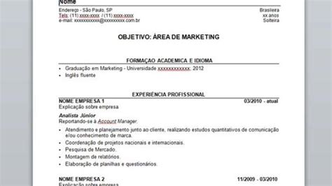 Modelo Curriculum Chile 2015 Modelo De Curriculum 2015 Markenting Novo Post