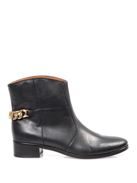 see by boots see by chlo 233 chain detail leather ankle boots in black lyst