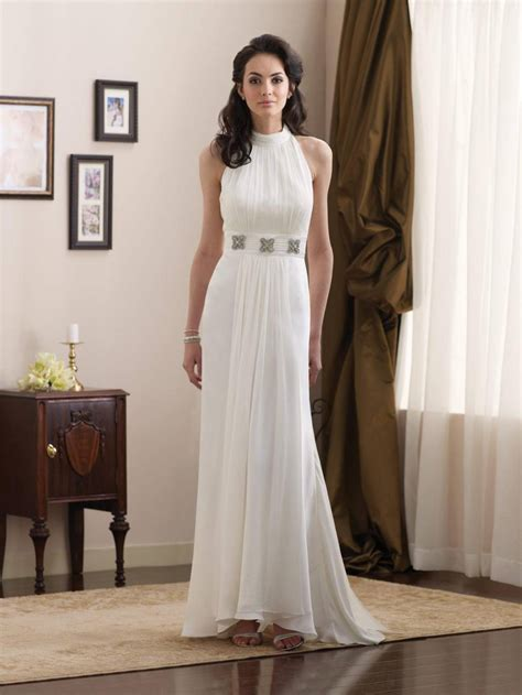 Informal Wedding Dresses by Simple High Halter Jeweled Broach Chiffon Informal Wedding