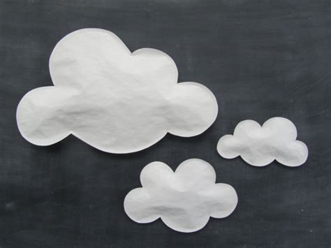 How To Make A Paper Cloud - cloud set of three white paper clouds for wall hanging
