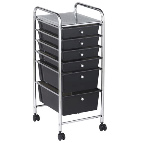Mobile Storage Drawers Buy Mobile Storage Cart 6 Drawer Smoke Os1