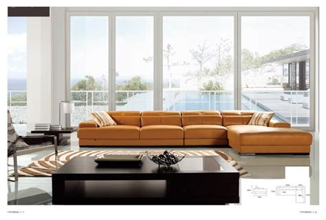 winston italian leather sectional sofa modern
