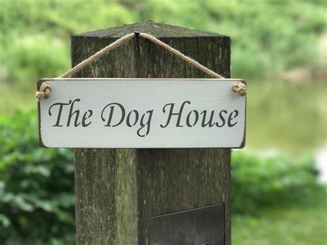 dog house plaque the dog house 163 10 00 rope hanging signs pets austin sloan handmade wooden signs