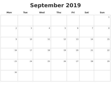 Calendar September 2019 September 2019 Make A Calendar
