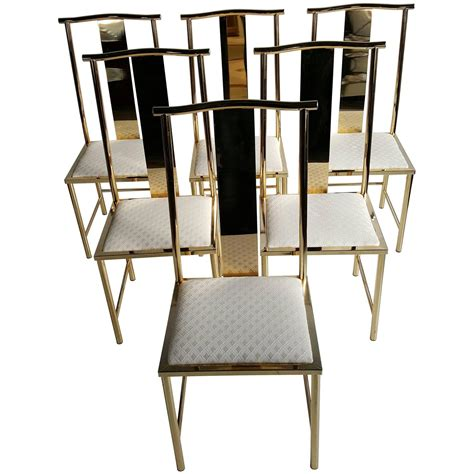 Asian Dining Chairs Set Of Six Asian Modern Brass Dining Chairs By Mastercraft At 1stdibs