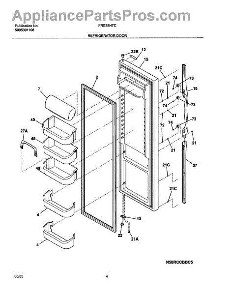 parts for frigidaire frs26h7cb0 refrigerator door parts