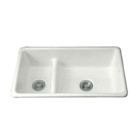 double bowl undermount sink kohler iron tones smart divide drop in undermount cast