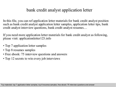 Credit Analyst Application Letter Bank Credit Analyst Application Letter