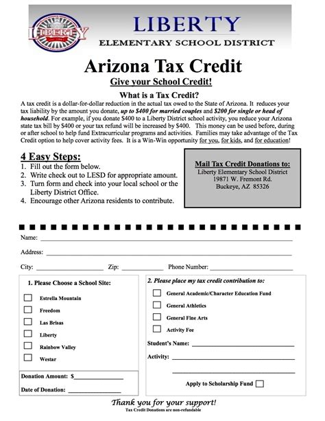 Arizona Tax Credit Forms 2015 Tax Credits Extension Liberty Elementary School Dist