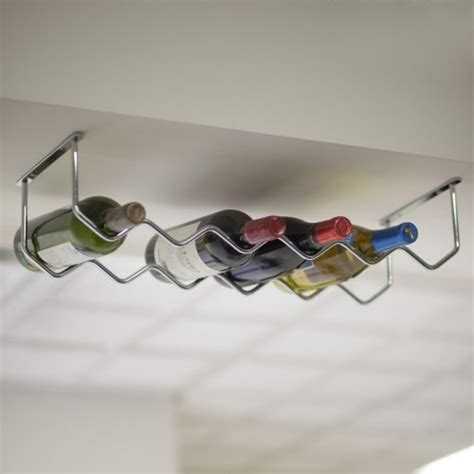 Under Cabinet Chrome 6 Bottle Wine Rack Contemporary