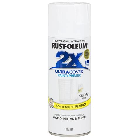 rust oleum 340g ultra cover 2x gloss spray paint white bunnings warehouse