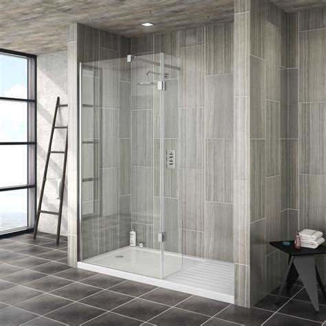 saturn walk in shower enclosure with hinged return panel