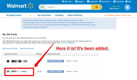 Can I Reload A Walmart Gift Card Online - how to add a new gift card to your walmart website account