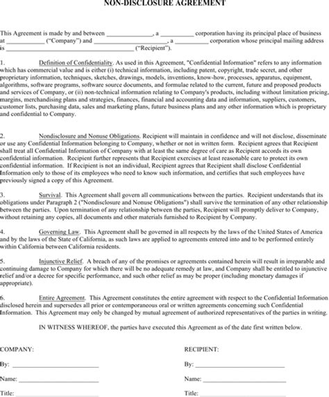 download non disclosure agreement templates for free
