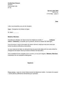 Lettre De Procuration Telephone Mobile Exemple Gratuit De Lettre Changement Titulaire Ligne T 233 L 233 Phonique Sfr