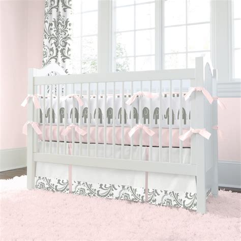 Pink And Gray Elephants 3 Piece Crib Bedding Set Pink Baby Bedding Sets