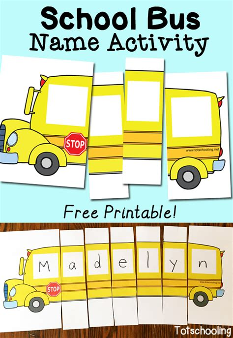 printable bus tags kindergarten school bus name activity with free printable school