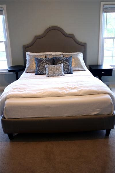 How To Upholster A Curved Headboard diy upholstered platform bed with curved fabric headboard