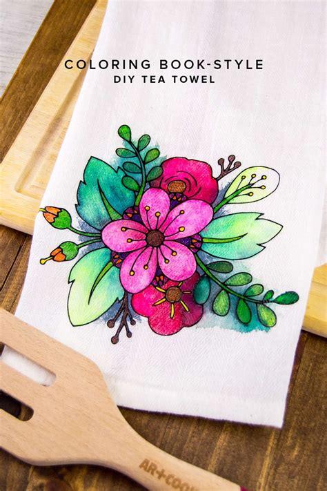 diy coloring book floral coloring book styled diy tea towel diy