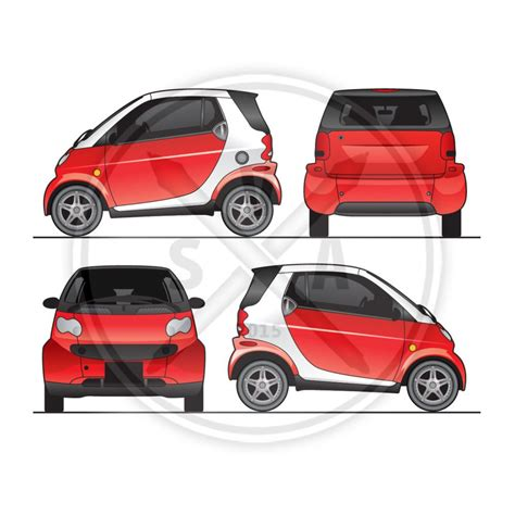 template for a car smart car fortwo graphics template stock vector