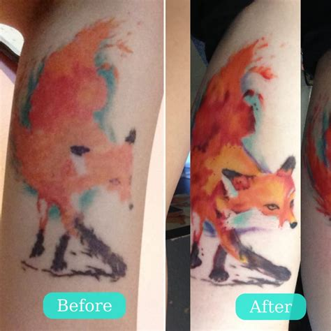 watercolor tattoos reviews before and after of my watercolor fox by deanna yelp