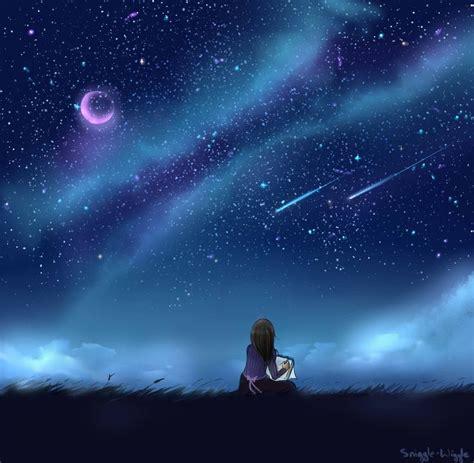 starry night sky girl anime girl looking into night sky google search art