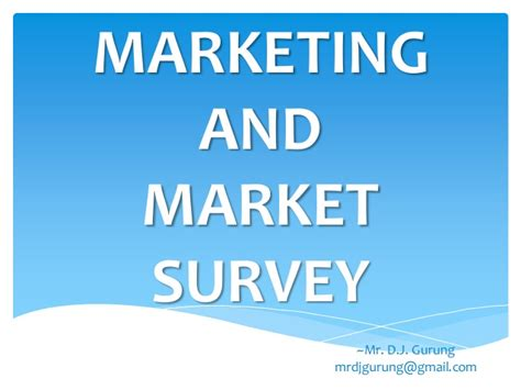 Marketing Survey - marketing and market survey