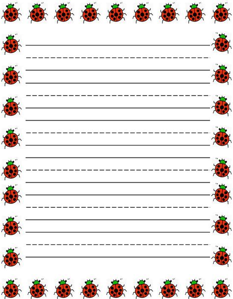 printable paper with lines and borders ladybugs border free printable kids stationery free
