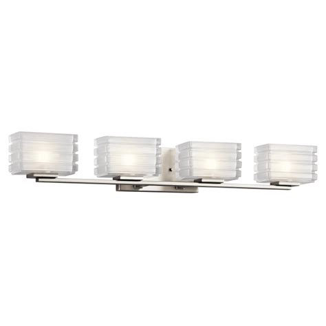 halogen bathroom light fixtures kichler 45480ni bazely contemporary brushed nickel finish