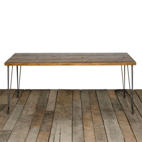 dining table with 1 65 reclaimed wood top and hairpin