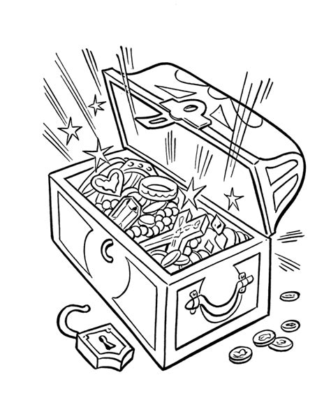 open treasure chest coloring page coloring home
