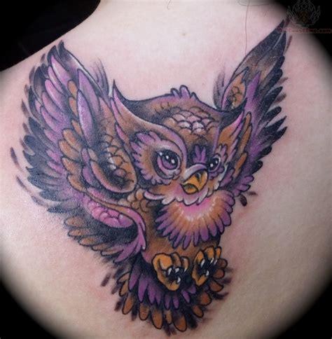 color owl tattoo colorful owl